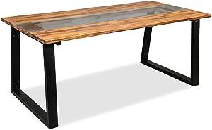 vidaXL Tavolo Sala da Pranzo Legno Acacia e Vetro 180x90x75 cm Tavolino Tavola