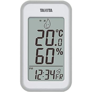 タニタ 温湿度計 温度 湿度 デジタル 壁掛け 時計付き 卓上 マグネット グレー TT-559 GY