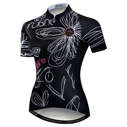 Weimostar Radfahren Jersey Frauen Mountainbike Jersey Shirts Kurzarm Rennrad Kleidung aus Tür Sport MTB Kleidung Sommer tragen Schwarz Größe XXXL