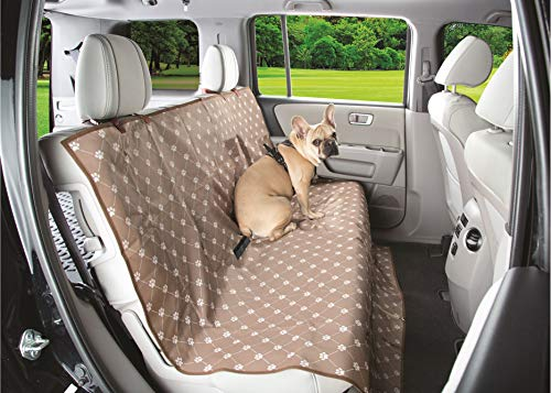 Etna Waterproof Paw Print Theme Seat Cover for Car Seat or Couch for Pets/Dogs/Canines/Man's Best Friend - Brown/White