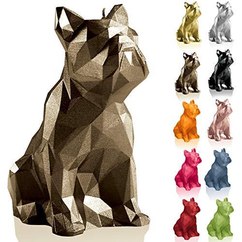 Candellana Kerze Bulldogge Low Poly   Höhe: 15 cm   Messing   Handgemacht in der EU