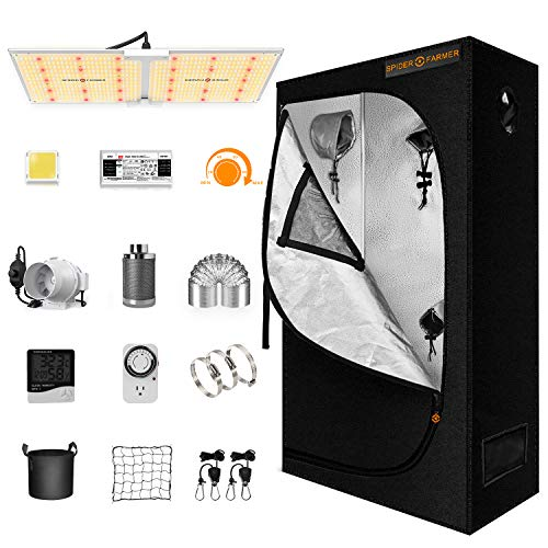 Spider Farmer Grow Tent Kit Complete, SF-2000 LED Grow Light Compatible with Samsung LM301B Diodes & MeanWell Driver, 2x4 Grow Tent 4 Inch Inline Fan Filter Combo Set Indoor Growing System Room Kit