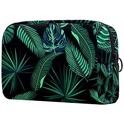 KosmetiktascheKulturbeutel Reise Make Up Tasche wasserdichte Organizer Multifunktions für Make-up Pinsel Lidschatten Lippenstifte Tropische Pflanzen 18.5x7.5x13cm