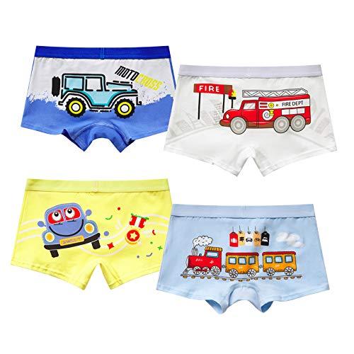MiSense 4er Pack Jungen Auto Boxershorts Kinder Unterhosen Baumwolle Unterwäsche für 2-11 Jahre(6-7 Jahre,GN-05L)