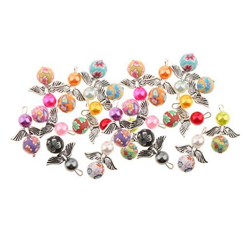 Fenteer 20 Stücke Acryl Perlen Perlenengel Schutzengel Anhänger Charms Flügel Schmuckanhänger für Schmuckherstellung Basteln Deko