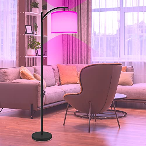 RGB Floor Lamp for Living Room,Bedroom, AnTing LED Reading Standing Light with Arc Hanging Shade,15W LED Bulb Included,Modern Dimming Lamp,Black