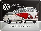 Nostalgic-Art Cartel de chapa retro VW – Meet The Classics – Idea de regalo de furgoneta Volkswagen, metálico, Diseño vintage decorativo, 15 x 20 cm