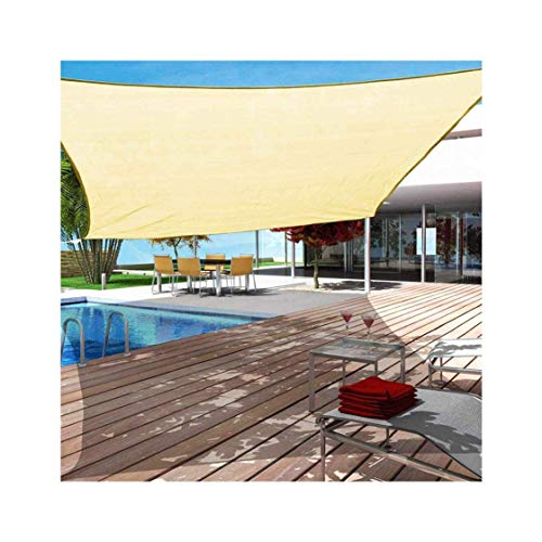 Sun shade sail Wasserdichter Sonnenschutz Segel Rechteck UV-Block Baldachin Anti-Riss Segelschirm Sonnenschutz für Terrassen Garten im Hinterhof (Color : Beige, Size : 4x4m (13x13ft))