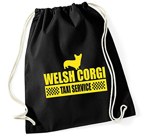 Siviwonder Turnbeutel - WELSH CORGI welsh Pembroke Cardigan WelshCorgi Corgis - TAXI - Hund Hunde Baumwoll Tasche Beutel schwarz