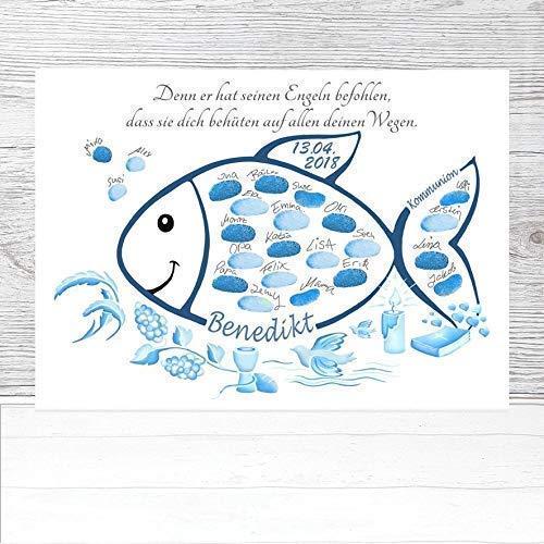 Fingerabdruck Fisch Kommunion personalisiert, Poster, Kommunion Fisch Geschenk, Kommunion Gästebuchalternative, Fingerabdruckbaum Kommunion