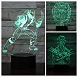 Lmpara de mesa LED 3D Regalo para nios Pelcula de superhroe Superhroe X-Men Lobo Superhroe Hombre Logan Figura Luz de noche para nios Nio Cumpleaos Cmic de superhroe Pelcula