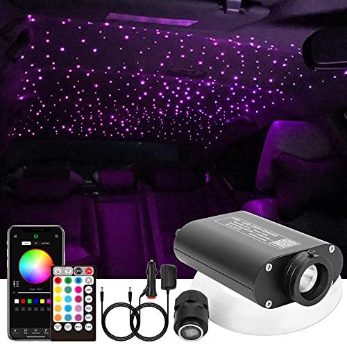 CHINLY Bluetooth 16W RGBW LED Fiber Optic Star Deckenleuchten Kit APP/Fernbedienung 200pcs*0,75mm*2m Glasfaser f¨¹r Zuhause/Auto