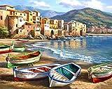 Pintura por Números para Adultos, Kit de Pintura al óleo de Lienzo DIY para Niños con Pinceles, Pigmento Acrílico, Pintura de Dibujo DIY, 40X50 CM (Boat)