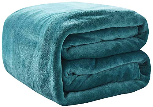 Rohi Fleece Throw Blankets Double Size - Super Soft Fluffy Faux Fur Warm Solid Teal Bed Throws for Sofa Fleece Bedspread Blanket - 150x200cm