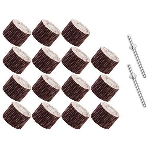 Kaxofang Ruedas de Lijado de Aletas de 20 Piezas Disco de Cabeza de Rueda de Aleta de Grano 120 con Herramienta Rotativa de Pulido de Mandril de 2 de 1/8 Pulgadas