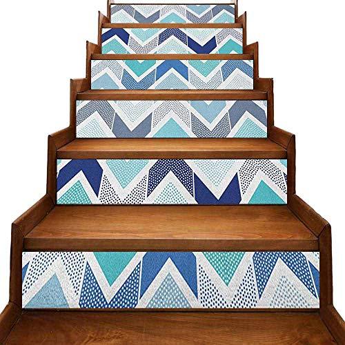 Adhesivo de arte moderno sin costuras, diseño de puntos y zigzag con líneas asimétricas, impermeable, color azul y blanco, 99 cm x 7 cm x 6 unidades