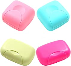 RETON 4 Pcs Portable Candy Color Soap Container Case Box Holder Organizer for Home, Bathroom, Hiking, Traveling, Camping and Other Outdoor Activities (2 Small+2 Large)