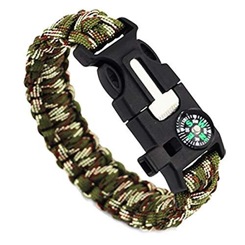 Multi functie 5 in 1 outdoor survival paracord armband met aansteker, fluitje, kompas, snijder en touw