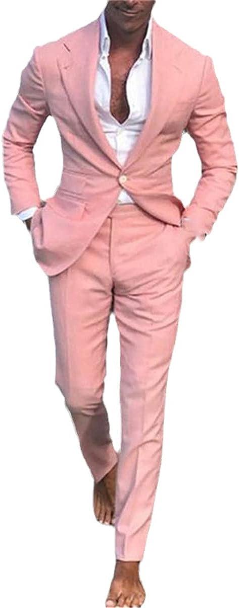 CACLSL Pink Slim Men's Suit Summer Casual Wedding Tuxedo 2-Piece Suit Prom Business Suit Jacket