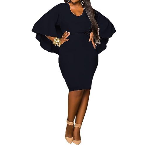 17f22105d3c4b LaSuiveur Women's Batwing Sleeve V Neck Solid Bodycon Plus Size Dress