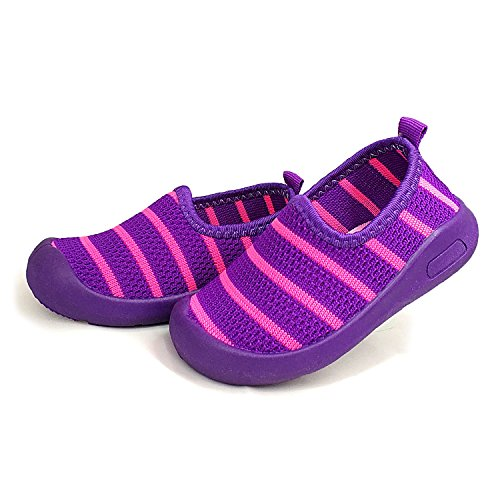 Z-T FUTURE Kids Mesh Breathable Rubber Sole Slip-On Sneakers Toddler Beach Water Shoes 5Colors (4.5 M US Toddler/Insole: 4.92 Inch, 1599 Purple-Thicker)