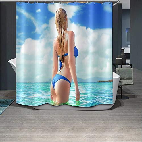 123456789 Bikini meisje in de zee douche gordijn liner badkamer mat polyester stof haken