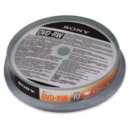 Sony 10DMW47SP DVD-RW Rohlinge (1x-2x Speed, 4,7GB, 120 Min, 10-er Stück Spindel)