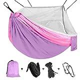 Viaje y Camping Hamaca, Mosquitero Hamaca Ultra Ligera para Viaje y Camping Nylon Portátil Paracaídas Secado Rápido para Excursión Jardín 110'(L) x 59'(W) (Purple/Pink)