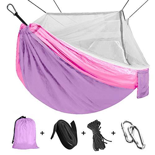 """Viaje y Camping Hamaca, Mosquitero Hamaca Ultra Ligera para Viaje y Camping Nylon Portátil Paracaídas Secado Rápido para Excursión Jardín 110""""(L) x 59""""(W) (Purple/Pink)"""