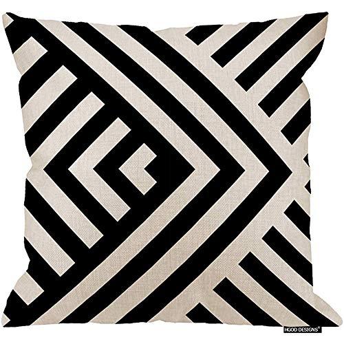 Marlon Kitty Cojín geométrico, Rayas diagonales en Blanco y Negro a Rayas en Zigzag Funda de cojín Chevron Funda de cojín