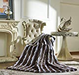 Lindsey Home Fashion Faux Fur Throw, Blankets for Bed Super Soft Fiber, Mink, Wolf, Bear, Coyote, 60'x84', 60'x70', 60'x60' (60x60(INCH), Zebra-Brown)