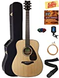 Yamaha FG800 Solid Top Folk Acoustic Guitar - Natural Bundle with Hard Case, Tuner, Strings, Strap, Picks, Austin Bazaar Instructional DVD, and Polishing Cloth