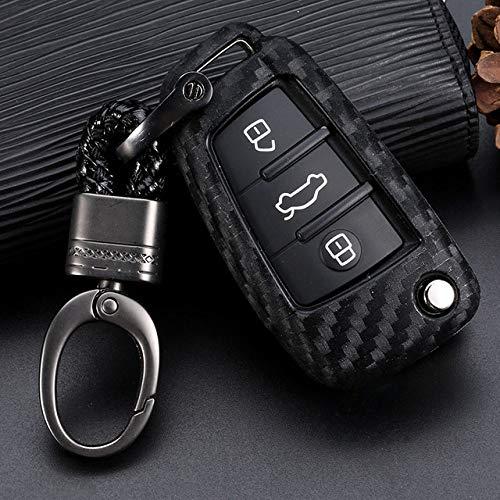 LINGZIA Car Key Shell, Car Key Case Cover Fibra de Carbono, para Audi A3 A4 A4L B5 B6 B7 B8 B9 A5 A6 A6L C5 C6 Q3 Q5 Q7 S5 S7 RS3 TT, Tener Soporte Cadena A