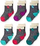 Carhartt Baby Girls Camp Crew Sock-6 Pair Pack, natural, pink, blue, green, purple, Shoe Size: 4-8.5 (18-36 Months)