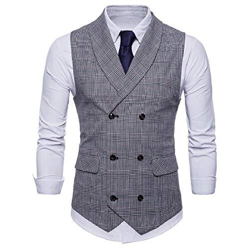 Chaleco de traje de doble botón elegante casual chaleco a cuadros chaleco de traje para hombre