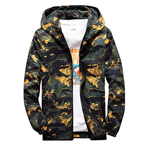 SUCES Übergröße Herrenjacke Herren Camouflage Jacke Hoodie Leichte Sweatjacke Herbst und Winter Kapuzenpulli Streetwear mit Reißverschluss Mode Übergangsjacke Sweatshirt