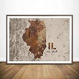 Rusty Estados Unidos Mapas Hermosa Pared Arte Pintura Decoración De La Pared Impresiones En Lienzo Lienzo Arte Cartel Pinturas Al Óleo,Sin Marco 50X70Cm (A-311)