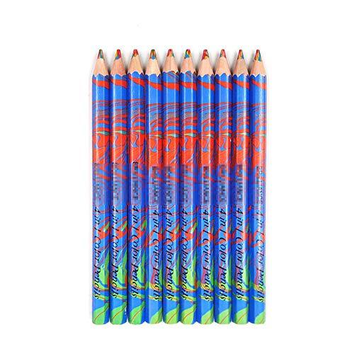 Kleurpotloden BLTLYX 10 stks/partij Houten Potloden Regenboog Jumbo Kleurpotloden 4 Gemengde Kleuren Potloodtekening Pennen Briefpapier Potlood 175 mm 10 stuks Blauw Set 2