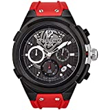 Mulco Evol Engine Quartz Swiss Chronograph Movement Men's Watch | Premium Analog Display with Rose Gold Accents | Silicone Watch Band | Water Resistant Stainless Steel Watch (Red)