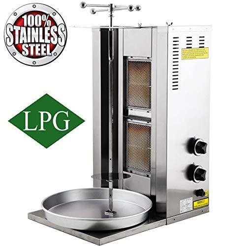 Juego completo profesional de capacidad para carne de 25 kg 2 quemadores de gas propano giratorios verticales Shawarma Gyro Doner Grill Kebab Tacos Al Pastor Machine Commercial Industrial o para uso doméstico