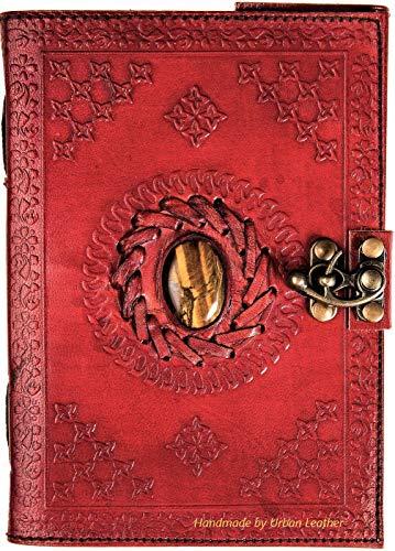 Diario de piel para dibujo, cuaderno de recortes, diseño de ojo de tigre, con piedras semipreciosas, con tachuelas, libro de sombras, color marrón, sin forro.