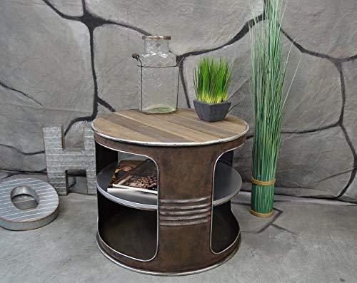 Livitat® Couchtisch Beistelltisch Metall Ölfass Vintage Industrie Look LOFT Shabby LV5022