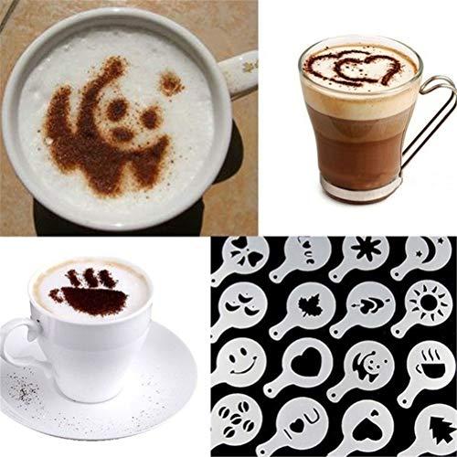 16 decoratieve sjablonen koffiesjablonen cappuccino versiering kunststof fantasie koffie kunst sjablonen Barista sjablonen koffieschuim patroon DIY originaliteit drukvorm voor chocolade cacao