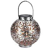 Navaris Metall LED Solarlaterne außen - Tragegriff - 16cm - cooler Schatteneffekt - Orientalische Garten Solar Laterne - Gartendeko Lampe Silber