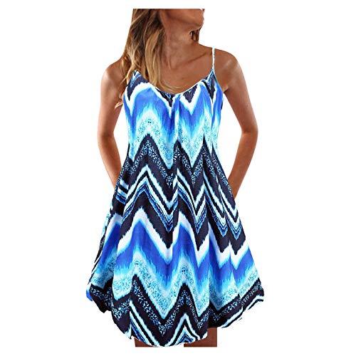 Women Casual Summer Dress Sexy Tie-dye Print Beach Dress Sleeveless Pullover Blouse Dress Boho Multicolor Dress Loose Sundress Sky Blue