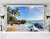 HDシーサイド背景ブルースカイビーチパームレインボーカモメの結婚式の写真背景壁紙スタジオ小道具10x7ftFSGY090
