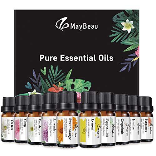 MayBeau Set de aceites esenciales (10 piezas de aceites, 100 por ciento de lavanda pura, eucalipto, jazmín, ylang, árbol de té, pomelo, limón, naranja dulce, bergamota y menta)