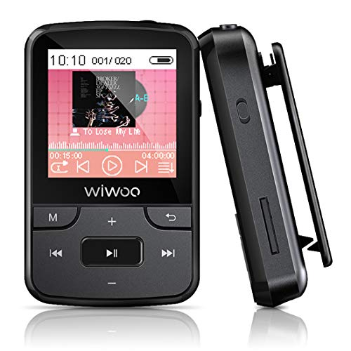 Wiwoo 16GB Lettore mp3 Bluetooth con Clip, Player Musicale Digitale Audio con Radio FM Registratore Vocale Capacità di Memoria Estensibile fino a 128 GB