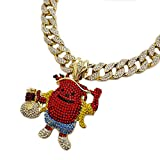 "Hip Hop KOOL AID MAN Holding Money Bag Pendant & 18"" Iced Cuban Link Choker Chain Necklace"