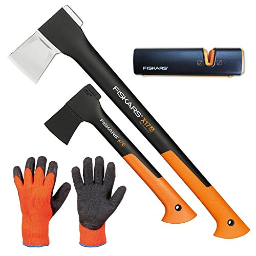 Fiskars Set Spaltaxt X17 - M + Universalaxt X7 - XS + Xsharp AXT- und Messerschärfer + Handschuhe
